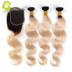 GHAIR 100% virgin human hair body wave 3 bundles with closure 1B/613# blonde color
