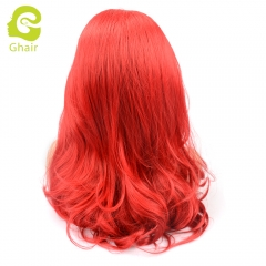 Ghair Synthetic Hair 180% density Red# Natural straight wave lace front wigs
