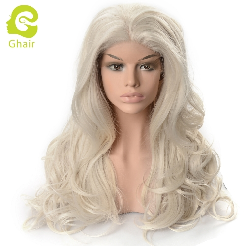 Ghair Synthetic Hair 180% density creamy white# Natural straight wave lace front wigs