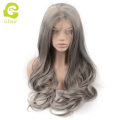 Ghair Synthetic Hair 180% density Grey# Natural straight wave lace front wigs