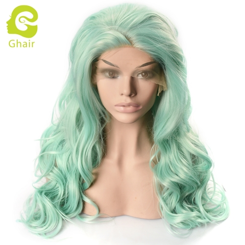 Ghair Synthetic Hair 180% density Light Green# Natural straight wave lace front wigs