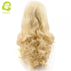 Ghair Synthetic Hair 180% density 613# Natural straight wave lace front wigs