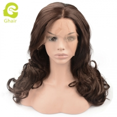 Ghair Synthetic Hair 180% density 6# Natural straight wave lace front wigs