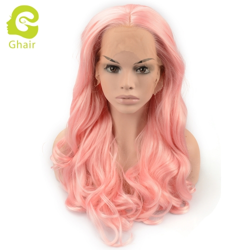 Ghair Synthetic Hair 180% density Pink# Natural straight wave lace front wigs