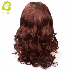 Ghair Synthetic Hair 180% density 99J# Natural straight wave lace front wigs