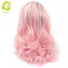 Ghair Synthetic Hair 180% density 1B/Pink# Natural straight wave lace front wigs