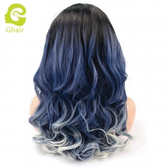 Ghair Synthetic Hair 180% density 1B/Blue# Natural straight wave lace front wigs