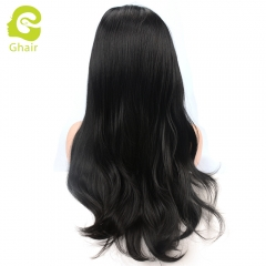 Ghair Synthetic Hair 180% density 1B# Natural straight wave lace front wigs