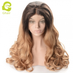 Ghair Synthetic Hair 180% density 4/27# Natural straight wave lace front wigs