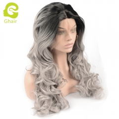 Ghair Synthetic Hair 180% density 1B/Grey# Natural straight wave lace front wigs