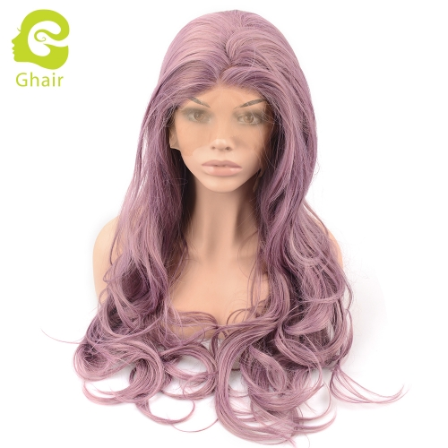 Ghair Synthetic Hair 180% density Purple# Natural straight wave lace front wigs