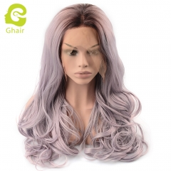 Ghair Synthetic Hair 180% density Light Purple# Natural straight wave lace front wigs