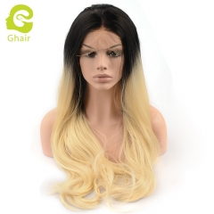 Ghair Synthetic Hair 180% density 1B/613# Natural straight wave lace front wigs