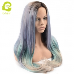 Ghair Synthetic Hair 180% density Purple/Blue/Grey# Natural straight wave lace front wigs