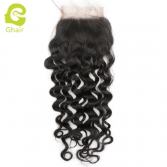 GHAIR 100% Virgin human hair Italy curly 1B# 4*4 lace closure with baby hair