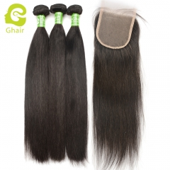 GHAIR Straight 100% virgin human hair 3 bundles with 4x4 transparent lace closure pre-plucked