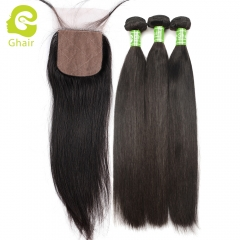 GHAIR Straight 100% virgin human hair 3 bundles with 4x4 silk base closure pre-plucked