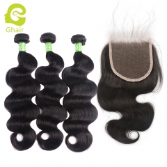 GHAIR body wave 100% virgin human hair 3 bundles with 4x4 HD thin Swiss lace closure pre-plucked