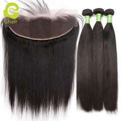 GHAIR Straight 100% virgin human hair 3 bundles with 13x4 lace frontal pre-plucked