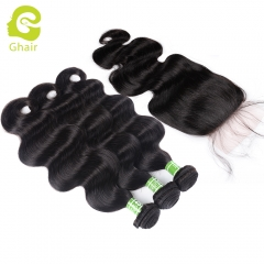 GHAIR body wave 100% virgin human hair 3 bundles with 4x4 silk base closure pre-plucked