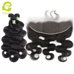 GHAIR body wave 100% virgin human hair 3 bundles with HD Swiss lace 13x4 frontal pre-plucked