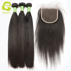 GHAIR Straight 100% virgin human hair 3 bundles with 4x4 HD thin Swiss lace closure pre-plucked