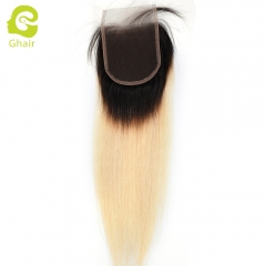 GHAIR 100% virgin human hair straight 3 bundles with closure 1B/613# blonde color