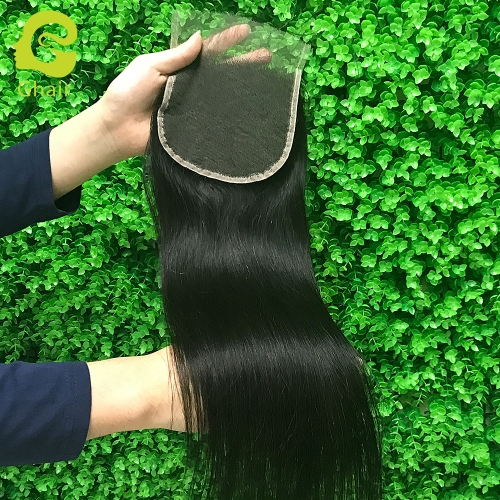 9A+ 5x5 HD lace closure 1B# Straight wave with pre-plucked baby hair