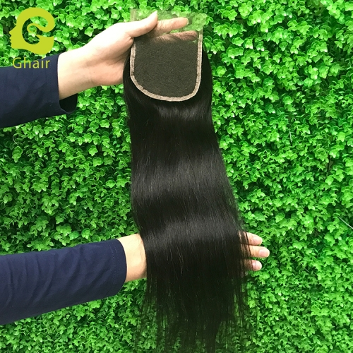 9A+ 4x4 HD lace closure 1B# Straight wave with pre-plucked baby hair