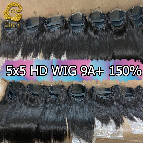 9A+ Invisible Super thin 5x5 HD Lace wig 150% density 1B# pre-plucked with baby hair