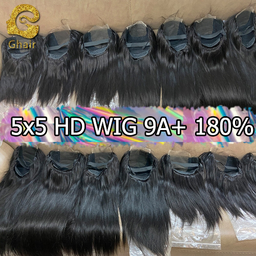 9A+ Invisible Super thin 5x5 HD Lace wig 180% density 1B# pre-plucked with baby hair