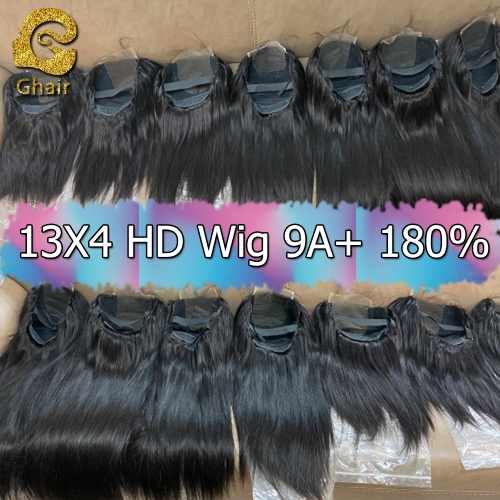 9A+ Invisible Super thin 13X4 HD Lace wig 180% density 1B# pre-plucked with baby hair