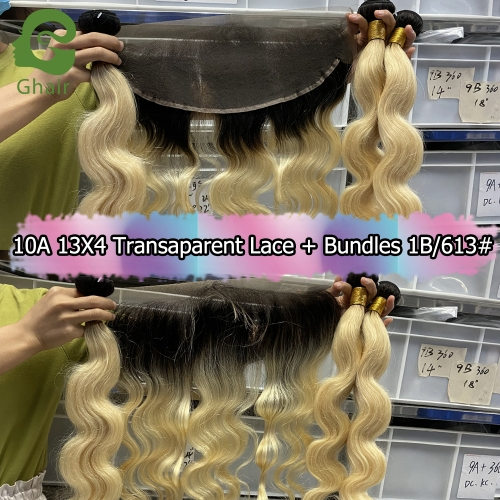 10A 13X4 Transparent Lace Frontal+Bundles 1B/613#