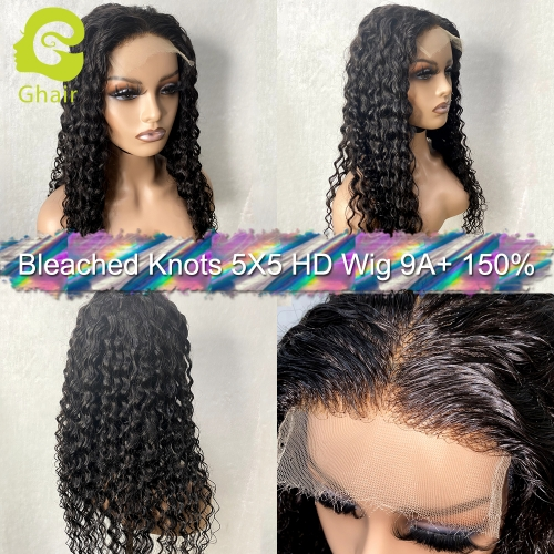 9A+ Bleached knots 5X5 HD Lace wig deep wave 150% pre-plucked with baby hair