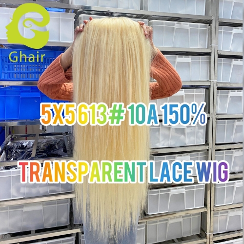 "10A 5X5 Transparent 613# Wig 150% density 12""-30"" pre-plucked with baby hair blonde wig thick ends full lace blonde human hair"