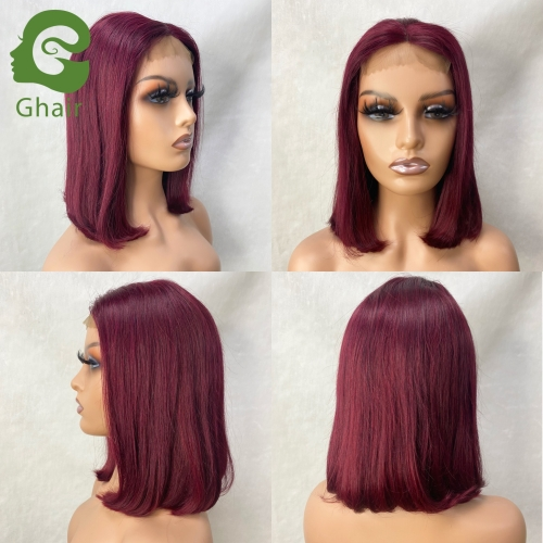 Ghair 9A+  Red Wine Bob Wig Colored Wigs Human Hair 4x4 8-12 Inch full 150% middle part straight virgin hair Short Bob wig